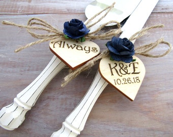 Rustic Wedding Cake Cutter Set White Handles with Navy Flowers Custom Color Cake Server Set Personalized Bride and Groom Initials and Date