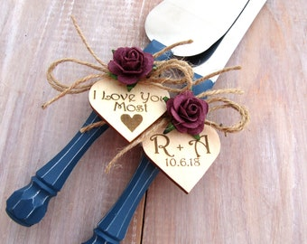 I Love You Most Rustic Wedding Cake Server and Knife Set Navy & Plum or Custom Personalized Colors Bridal Shower Wedding Gift