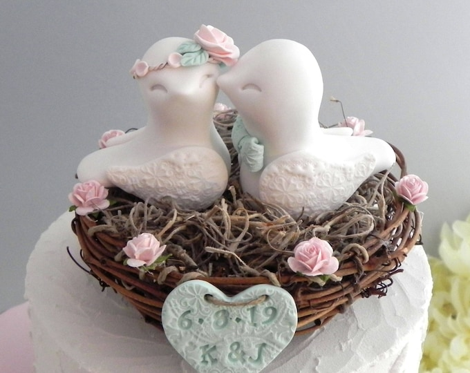 Rustic Love Bird Wedding Cake Topper, Blush Pink, Beige and Mint Green, Love Birds in Nest - Personalized Heart