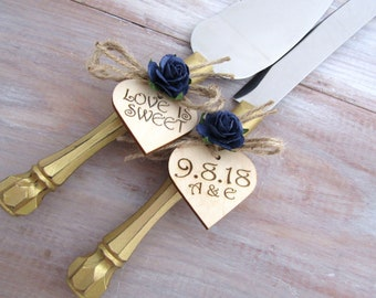 Love is Sweet Rustic Chic Wedding Cake Server Knife Set Gold with Navy Flower Personalized Wood Hearts Bridal Shower Gift Wedding Gift