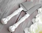 White Rustic Chic Wedding Cake Server Knife Set Cake Cutter Set Bridal Shower Gift Wedding Gift Shabby Chic Vintage Wedding