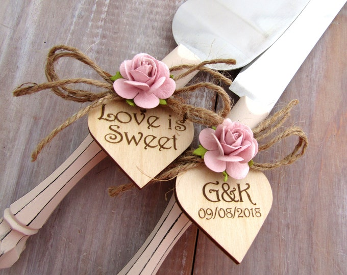 Love is Sweet Cream with Dusty Pink Flowers or Custom Color Rustic Wedding Cake Server Set Personalized Bride and Groom Initials and Date