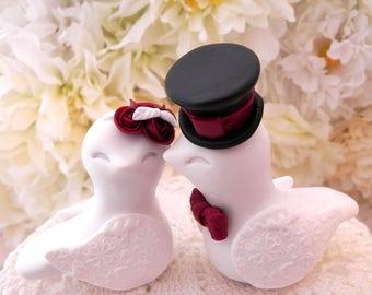 Love Birds Wedding Cake Topper, White, Burgundy and Black, Bride and Groom Keepsake, Fully Personalized
