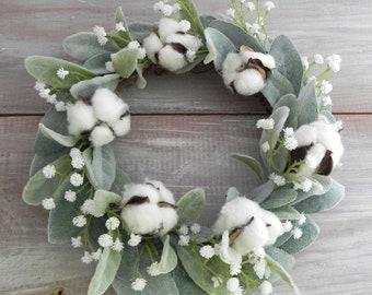 Farmhouse Mini Wreath Lamb's Ear Cotton Ball Baby's Breath Nursery Decor Wall Decor Housewarming Gift Mantle Decor