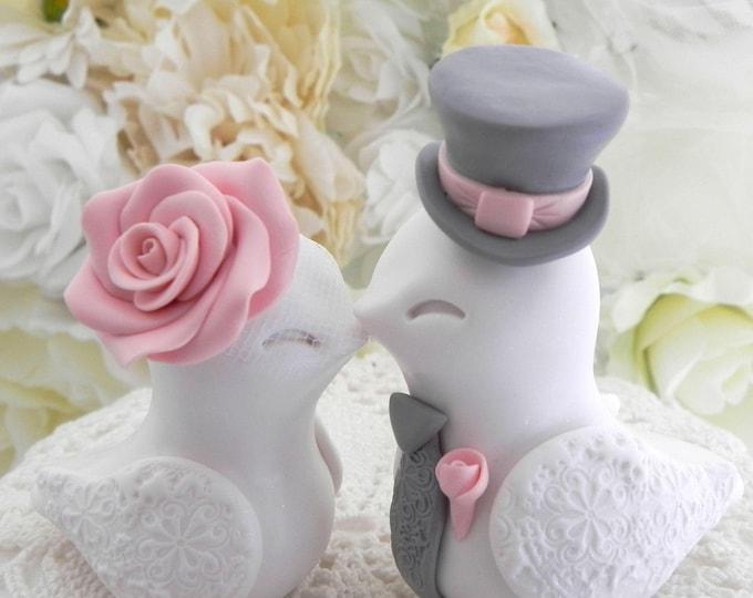 Wedding Cake Topper, Love Birds, White, Rose Pink and Grey, Bride and Groom Keepsake