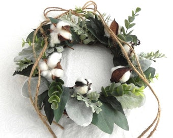 Mini Farmhouse Wreath Greenery Wreath Eucalyptus Lambs Ear Cotton Wreath Fixer Upper Decor Farmhouse Decoration Mantle Wreath Window Wreath