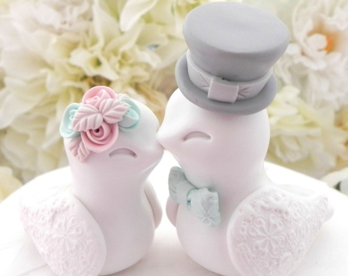 Love Birds Wedding Cake Topper, White, Dusty Pink, Mint and Grey, Bride and Groom Keepsake,
