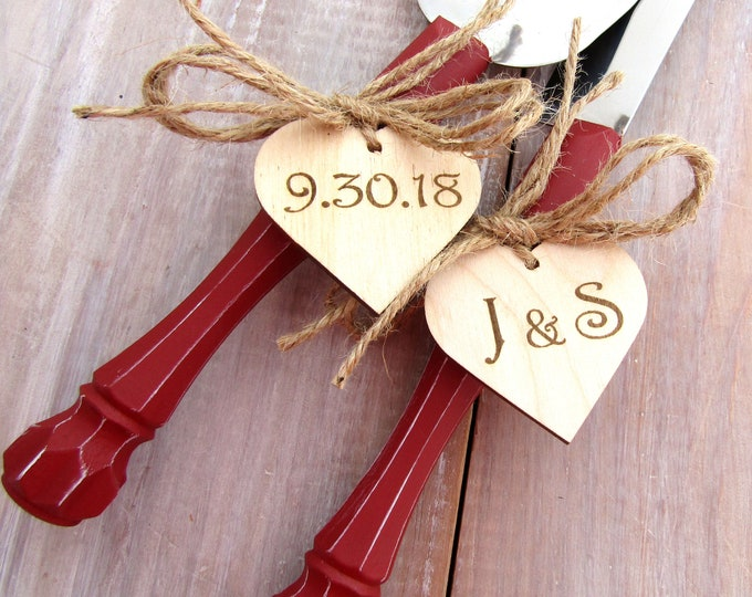 Rustic Chic Wedding Cake Server And Knife Set, Red with Personalized Wood Hearts, Bridal Shower Gift, Wedding Gift