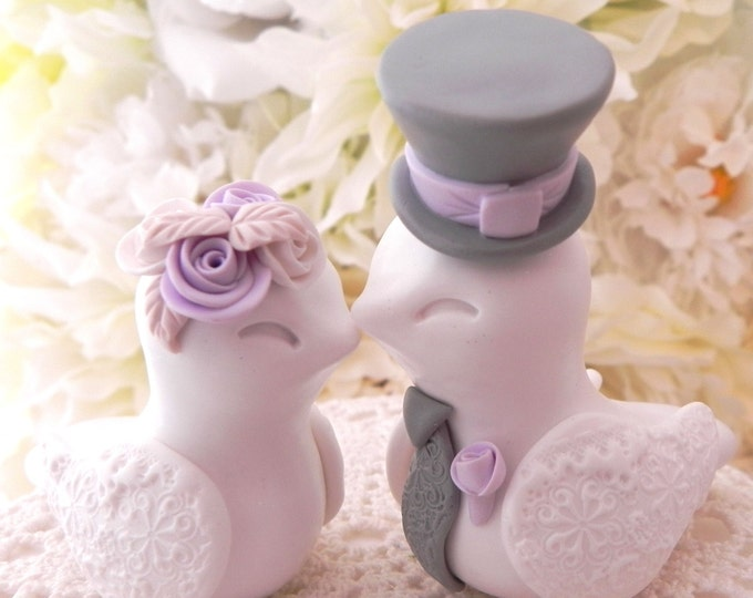 Love Birds Wedding Cake Topper, White, Lilac and Grey, Bride and Groom Keepsake, Fully Personalized