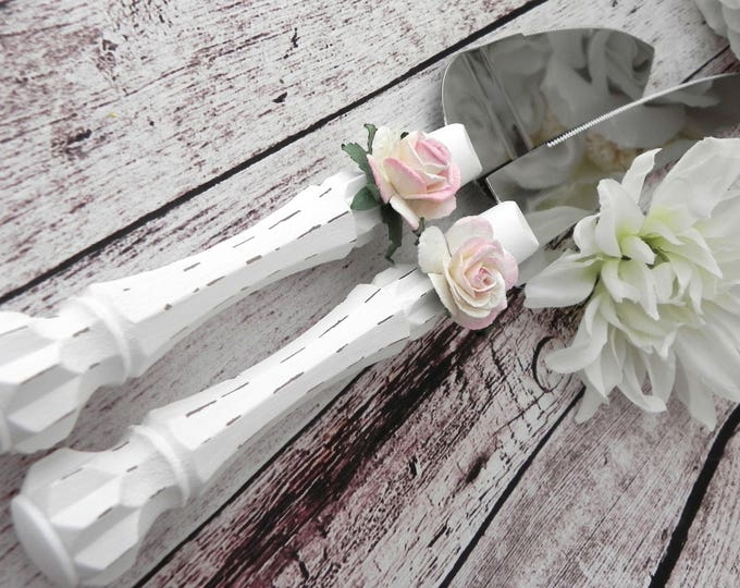 White Shabby Chic Wedding Cake Server and Knife Set Personalized with a Pink Rose. Cute Rustic Wedding Bridal Shower Gift Idea.