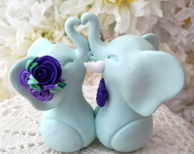 Wedding Cake Topper, Elephants in Love, Mint Green and Shades of Purple, Bride and Groom Keepsake