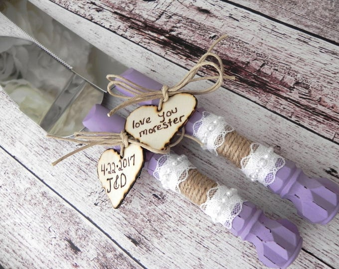 Wedding Cake Server And Knife Set, Lavender with Burlap and Lace, Personalised Hearts, Bridal Shower Gift, Wedding Gift