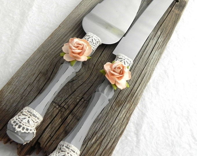 Rustic Chic Wedding Cake Server and Knife Set,Gray, Peach Rose and Ivory Lace, Wedding Gift