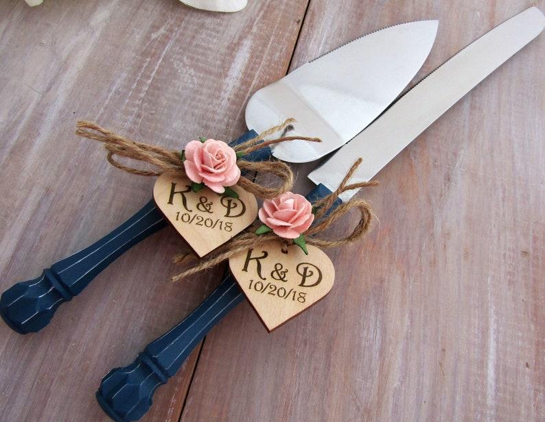 Rustic Wedding Cake Server And Knife Set Navy Handle Peach Etsy