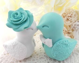 Love Bird Wedding Cake Topper, Robins Egg Blue and White, Bride and Groom Keepsake