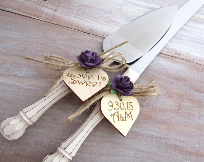 Rustic Chic Wedding Cake Server And Knife Set, Cream and Purple, Personalized Wood Hearts, Bridal Shower Gift, Wedding Gift