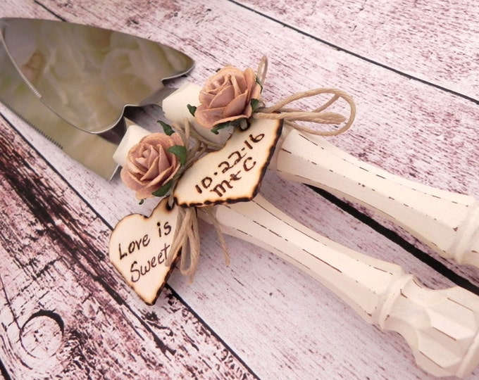 Shabby Chic Rustic Wedding Cake Server Set, Cream with a Mocha Flower, Personalized Wood Hearts, Bridal Shower Gift, Wedding Gift