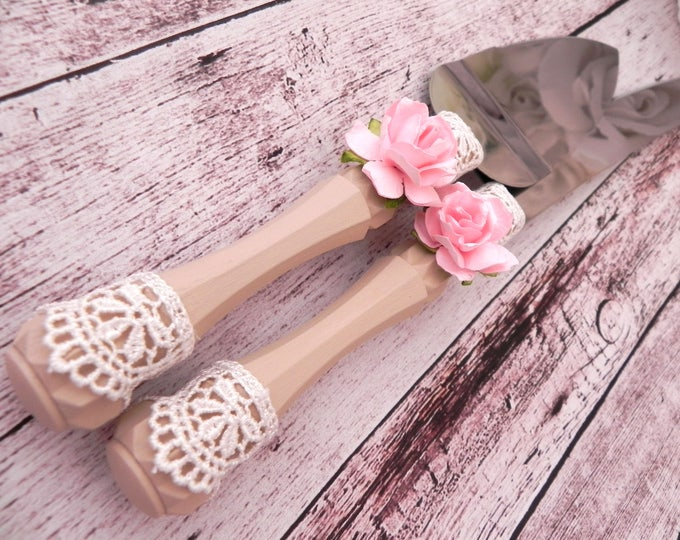 Rustic Chic Wedding Cake Server and Knife Set, Vintage Pink, Ivory and Cream, Wedding Gift