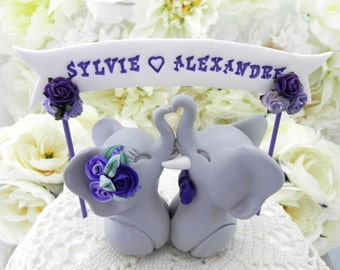 Elephant Wedding Cake Topper, Grey and Shades of Purple, Custom Phrase Banner, Bride and Groom Keepsake, Fully Custom