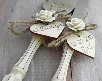 Rustic Chic Wedding Cake Server Knife Set Cream with Ivory Flower Personalized Wood Hearts Bridal Shower Gift Wedding Gift