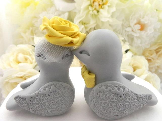 Love Birds Wedding Cake Topper Grey and Sunny Yellow Bride   Etsy