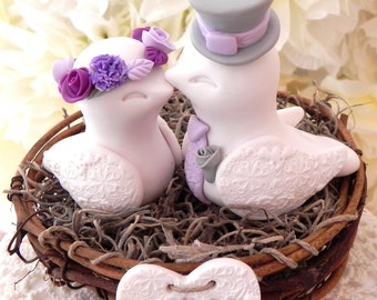 Rustic Love Bird Wedding Cake Topper -Violet, Lilac and Plum, Love Birds in Nest - Personalized Heart