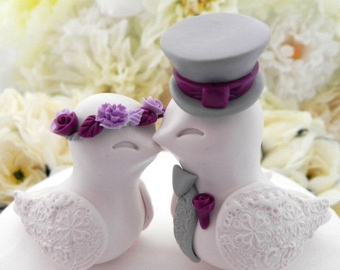 Love Birds Wedding Cake Topper, White, Plum, Lavender and Grey, Bride and Groom Keepsake, Fully Personalized