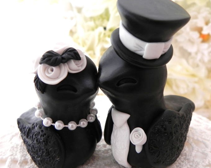 Elegant Love Birds Wedding Cake Topper, White and Black, Bride and Groom Keepsake, Fully Personalized