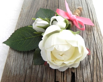 White Rose Boutonniere, Rustic White Flower Wedding Boutonniere, Grooms Boutonniere, Groomsmen Flower Boutonniere, White Rose Boutonniere,