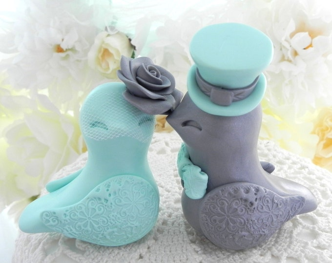 Love Birds Wedding Cake Topper, Aqua Mint and Silver, Bride and Groom Keepsake, Fully Personalized