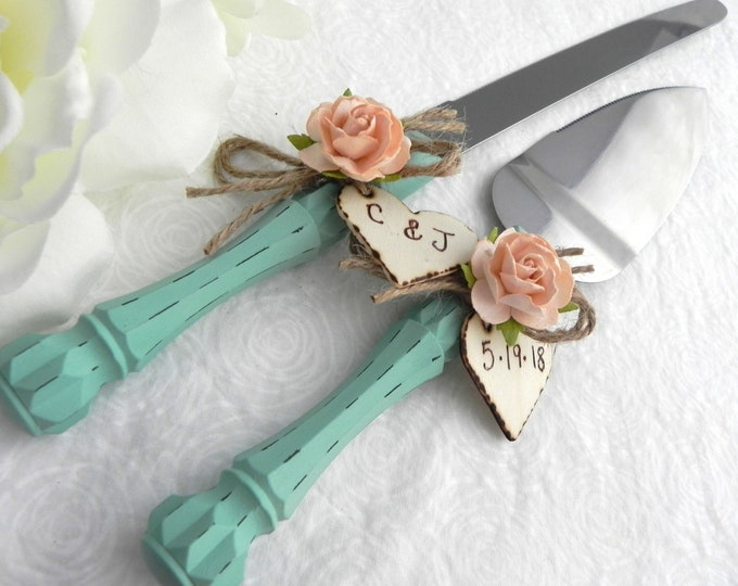 Rustic Chic Wedding Cake Server Knife Set Robin Egg Blue and Peach Personalized Wood Hearts Bridal Shower Gift Wedding Gift