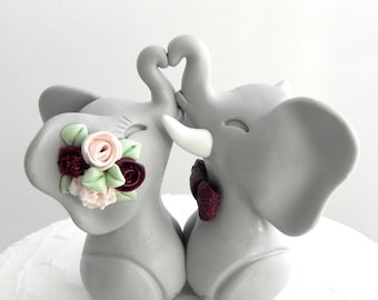 Wedding Cake Topper, Elephants in Love, Gray, Blush Pink and Burgundy, Bride and Groom Keepsake