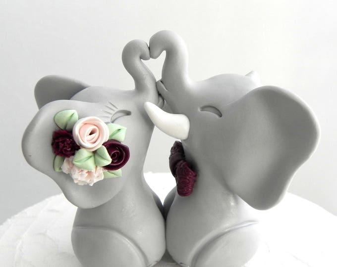 Wedding Cake Topper, Elephants in Love, Gray, Blush Pink and Burgundy, Bride and Groom Keepsake