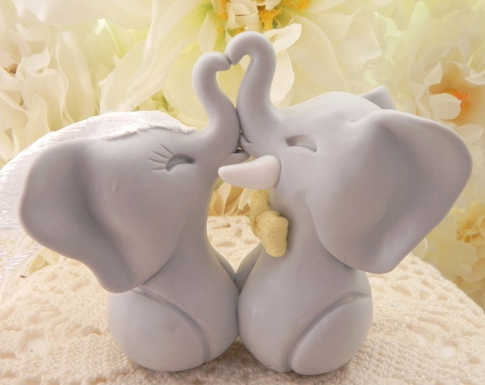 Light Grey Elephants and Yellow Bow Tie Fully Custom Wedding Cake Topper Personalized Bride and Groom Keepsake