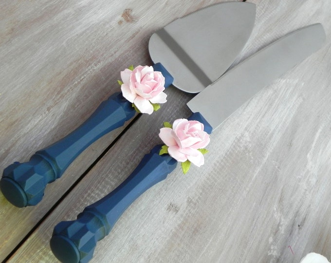 Navy Blue Wedding Cake Server and Knife Set, Vintage Pink Rose Bridal Shower Gift, Wedding Gift
