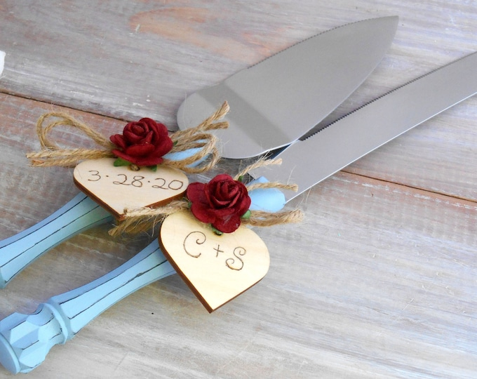 Rustic Chic Wedding Cake Server Knife Set Dusty Blue and Burgundy Flower Personalized Wood Hearts Bridal Shower Gift Wedding Gift