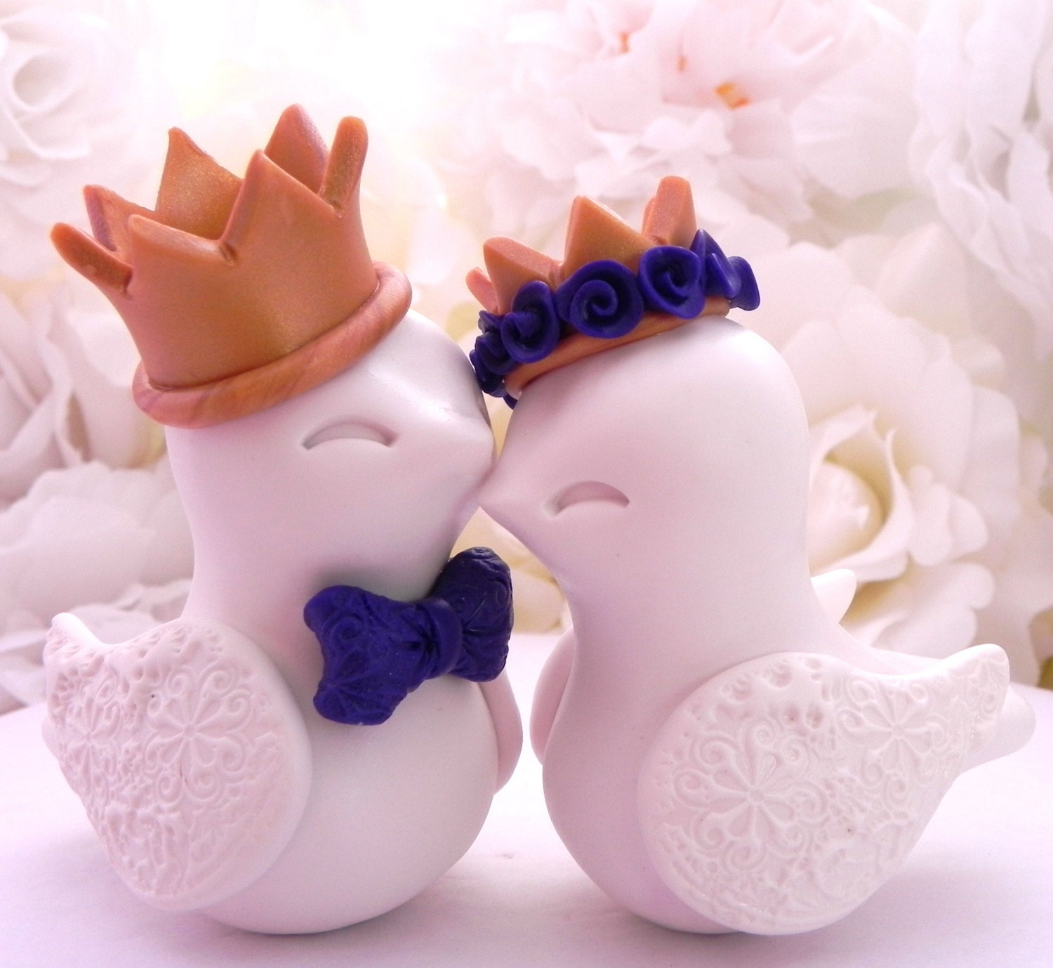 Love Birds Wedding Cake Topper, Ivory with Gold Crowns and Dark ...