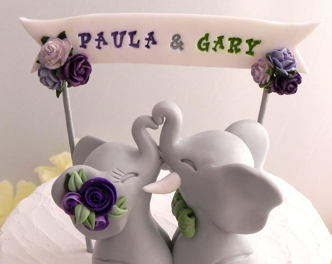 Elephant Wedding Cake Topper, Grey, Green and Shades of Purple, Custom Phrase Banner, Bride and Groom Keepsake, Fully Custom