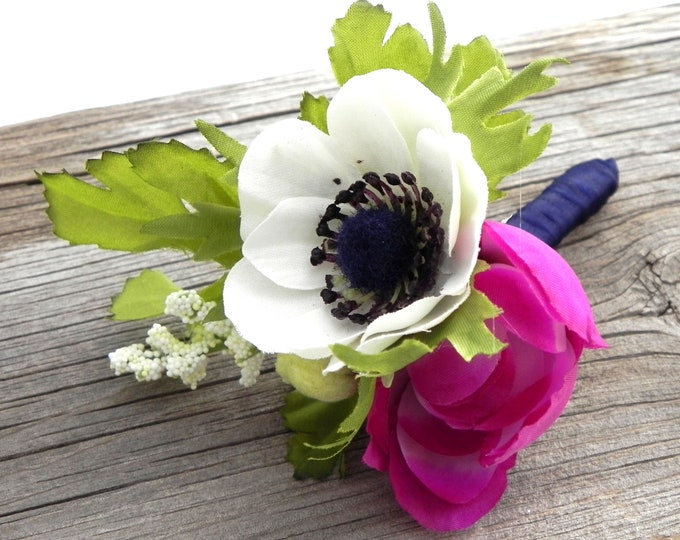 Anemone Boutonniere, White Anemone and Plum Ranunculus Bud with Satin Ribbon,  Buttonhole, Groom and Groomsmen Flower, Rustic Wedding