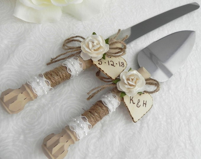 Rustic Wedding Cake Server And Knife Set, Tan with White Rose and Personalized Wood Hearts, Bridal Shower Gift, Wedding Gift