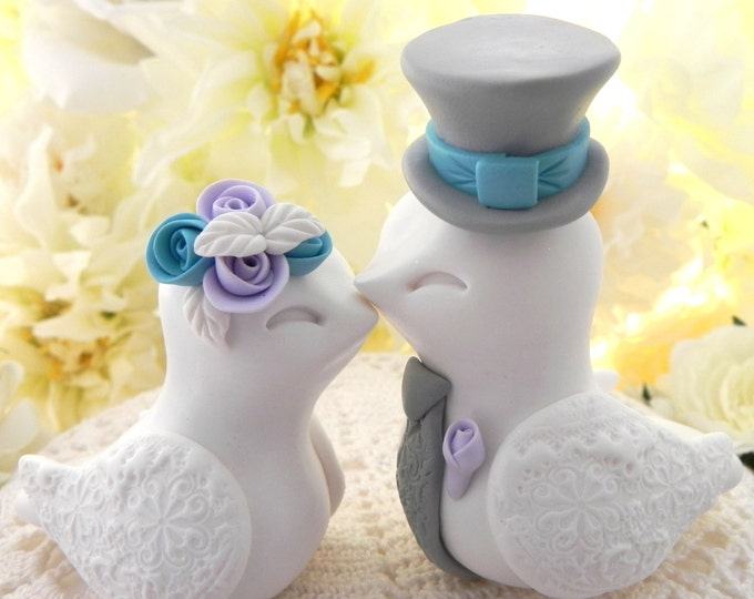 Love Birds Wedding Cake Topper, White, Lilac, Turquoise and Gray, Bride and Groom Keepsake, Fully Personalized