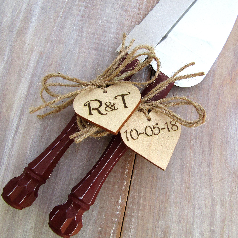 Rustic Wedding Cake Server Knife Set Burgundy Handle Personalized