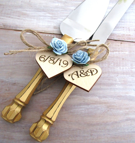 Rustic Gold Wedding Cake Server Knife Set Gold Handles Dusty Etsy