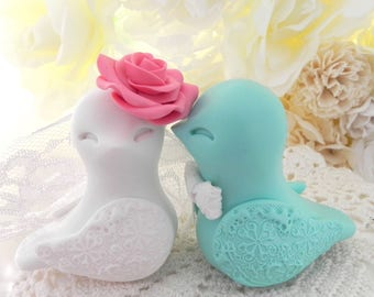Coral, Mint Green and White Love Bird Wedding Cake Topper, Personalized Bride and Groom Keepsake Cake Toppers, Fully Custom