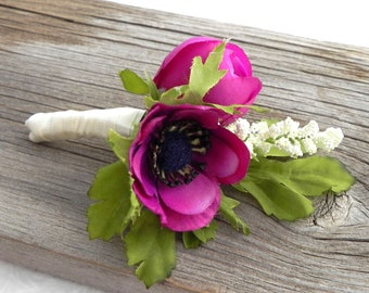 Anemone Boutonniere, Plum Anemone and Ranunculus Bud with Satin Ribbon,  Buttonhole, Groom and Groomsmen Flower, Rustic Wedding