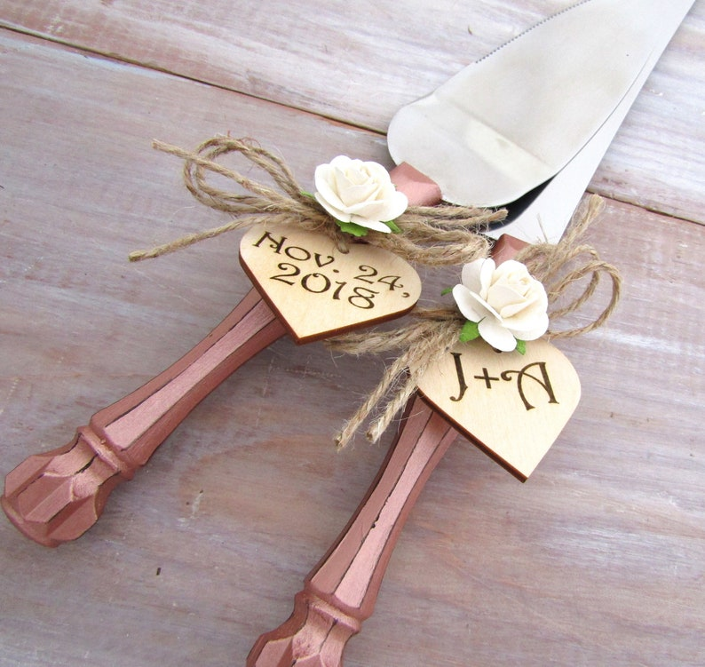 ad578a0923f2b Rose Gold Wedding Cake Server Knife Set Ivory Flower Personalized Wood  Hearts Bridal Shower Gift Wedding Gift