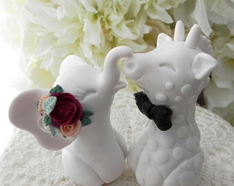 Elephant and Giraffe Wedding Cake Topper, Boho Wedding, Bride and Groom Keepsake