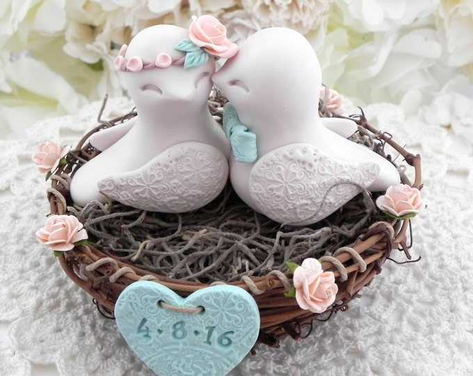 Peach, Beige and Mint Green Rustic Love Bird Wedding Cake Topper Love Birds in a Nest with Personalized Heart