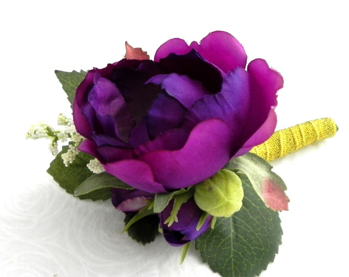 Purple Boutonniere,Purple Garden Roses, Gold Sparkle Ribbon, Boho Wedding, Buttonhole, Groom and Groomsmen Flower, Rustic Wedding