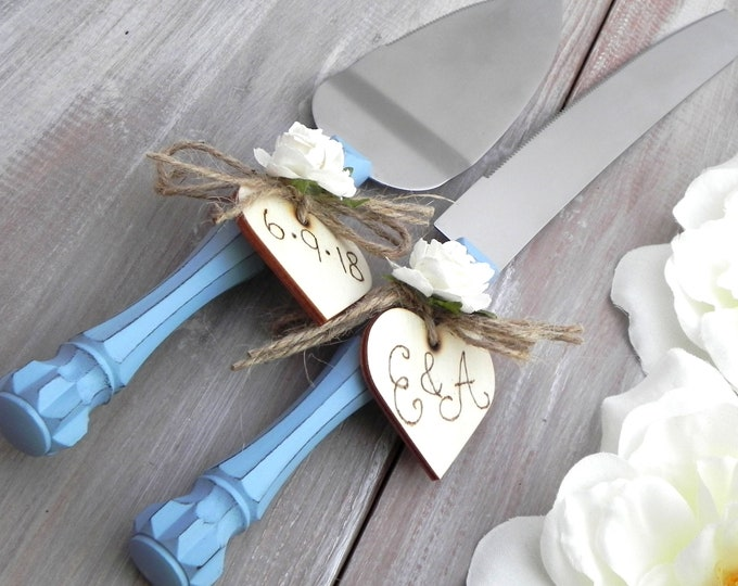 Rustic Chic Wedding Cake Server And Knife Set, Dusty Blue and White, Personalized Wood Hearts, Bridal Shower Gift, Wedding Gift